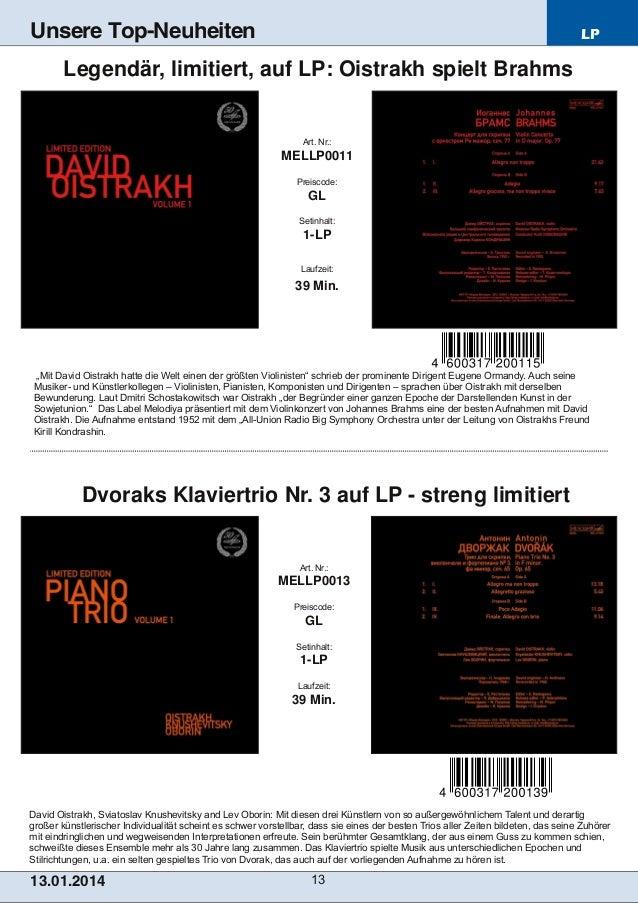 Unsere Top-Neuheiten  LP  Legendär, limitiert, auf LP: Oistrakh spielt Brahms  Art. Nr.:  MELLP0011 Preiscode:  GL Setinha...