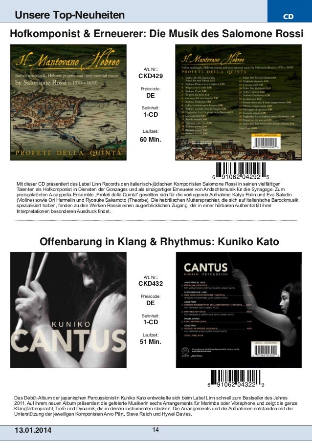 Unsere Top-Neuheiten  CD  Hofkomponist & Erneuerer: Die Musik des Salomone Rossi  Art. Nr.:  CKD429 Preiscode:  DE Setinha...