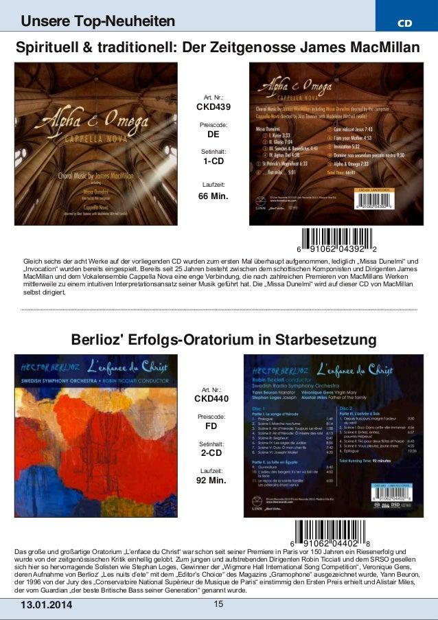 Unsere Top-Neuheiten  CD  Spirituell & traditionell: Der Zeitgenosse James MacMillan  Art. Nr.:  CKD439 Preiscode:  DE Set...