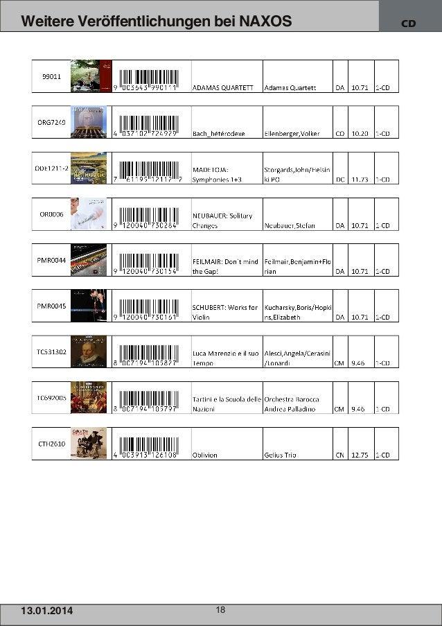 Weitere Veröffentlichungen bei NAXOS  1 3.01 .201 4  18  CD