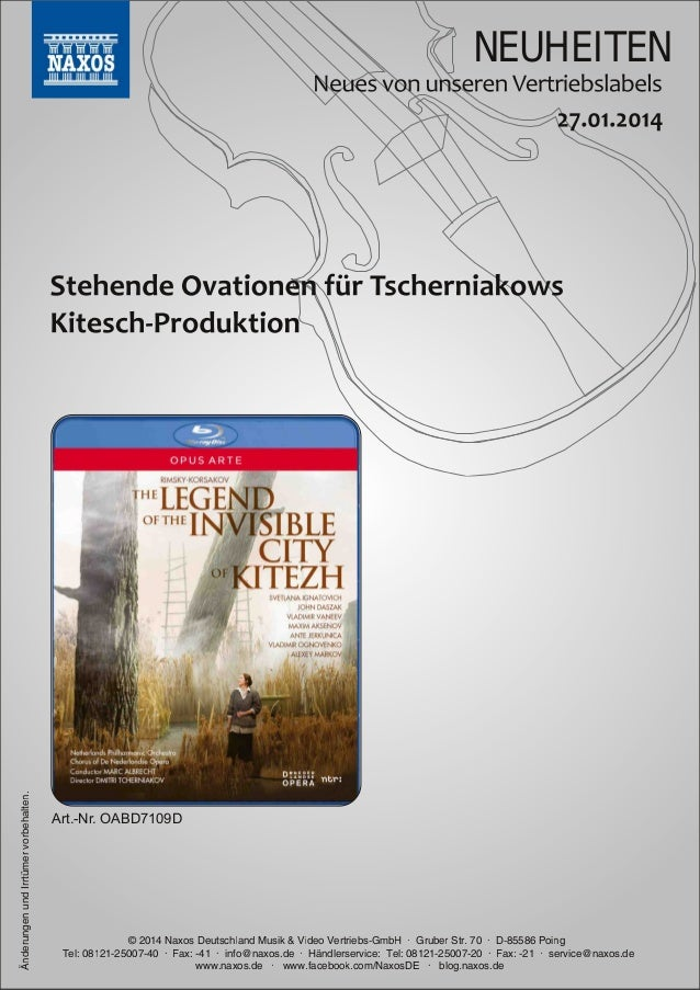 Änderungen und Irrtümer vorbehalten.  NEUHEITEN  Art.Nr. OABD7109D  © 201 4 Naxos Deutschland Musik & Video Vertriebs-Gmb...