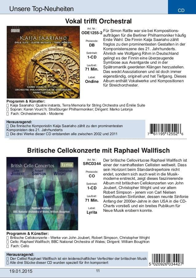 CD 11 Unsere TopNeuheiten Art. Nr.: SRCD344 Preiscode: CO Setinhalt: 1CD Laufzeit: 71 Min. Label: Lyrita Britische Cello...