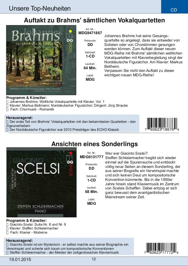 CD 12 Unsere TopNeuheiten Art. Nr.: MDG6131777 Preiscode: DD Setinhalt: 1CD Laufzeit: 68 Min. Label: MDG Ansichten eines...
