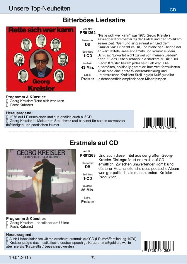 CD 15 Unsere TopNeuheiten Art. Nr.: PR91263 Preiscode: DB Setinhalt: 1CD Laufzeit: 36 Min. Label: Preiser Erstmals auf C...
