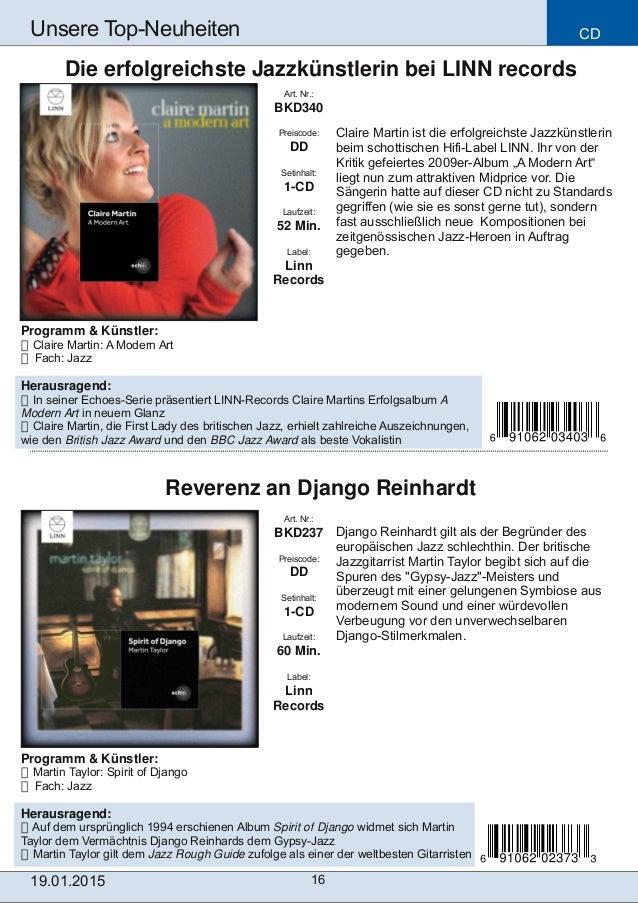CD 16 Unsere TopNeuheiten Art. Nr.: BKD237 Preiscode: DD Setinhalt: 1CD Laufzeit: 60 Min. Label: Linn Records Reverenz a...