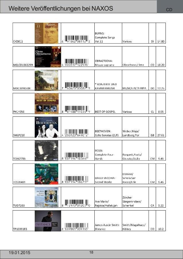 18 Weitere Veröffentlichungen bei NAXOS CD 19.01.2015