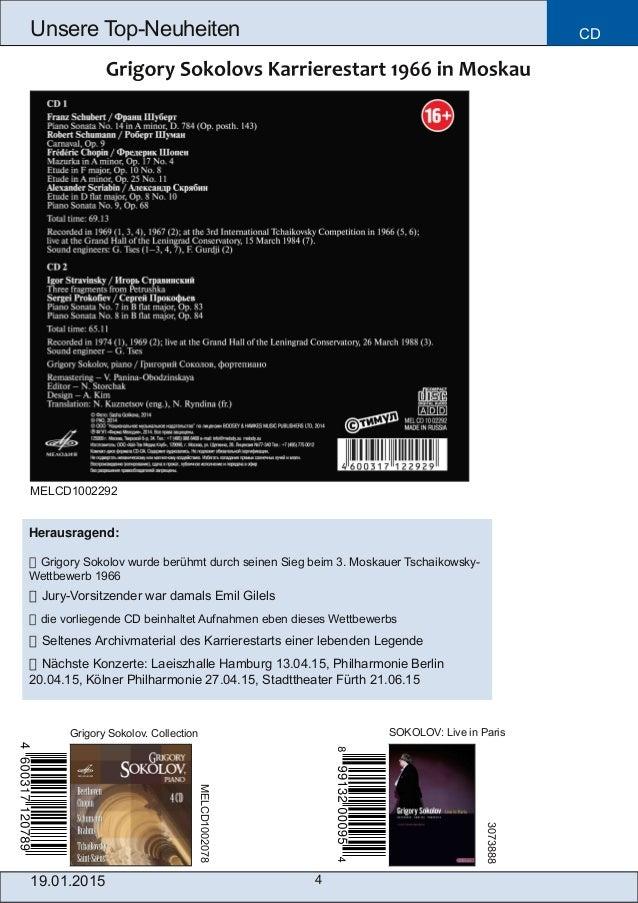 4 Unsere TopNeuheiten CD Grigory Sokolov. Collection SOKOLOV: Live in Paris MELCD1002078 3073888 Herausragend:  Grigory ...