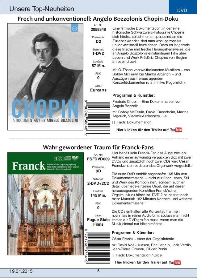DVD 5 Unsere TopNeuheiten Art. Nr.: FSFDVD009 Preiscode: 8D Setinhalt: 2DVD+2CD Laufzeit: 145 Min. FSK: 0 Label: Fugue S...