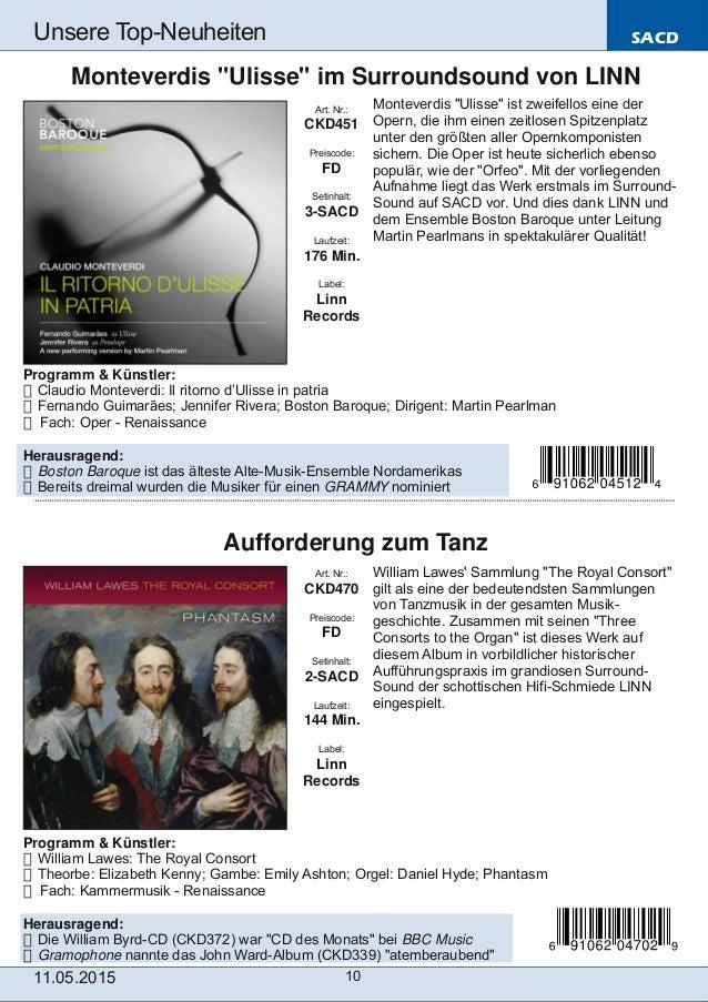 SACD 11.05.2015 10 Unsere TopNeuheiten Art. Nr.: CKD470 Preiscode: FD Setinhalt: 2SACD Laufzeit: 144 Min. Label: Linn Re...