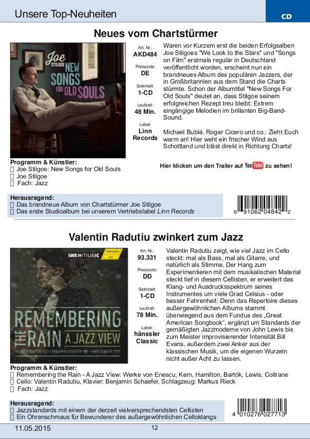 Programm & Künstler:  Joe Stilgoe: New Songs for Old Souls  Joe Stilgoe  Fach: Jazz Herausragend:  Das brandneue Album...