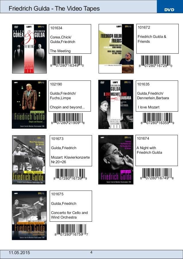 101635 Gulda,Friedrich/ Dennerlein,Barbara I love Mozart 4 DVDFriedrich Gulda  The Video Tapes 11.05.2015 101634 Corea,Ch...