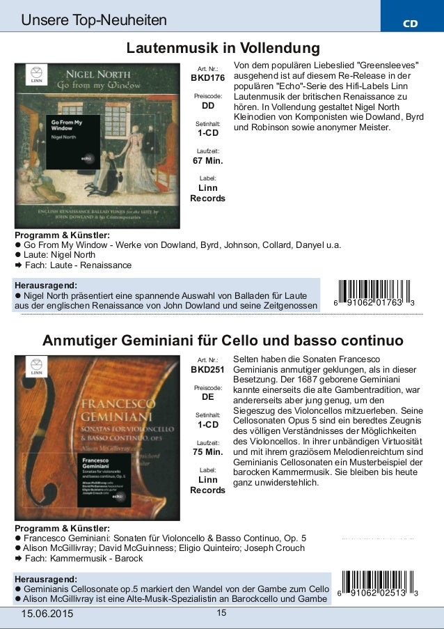 Programm & Künstler: Francesco Geminiani: Sonaten für Violoncello & Basso Continuo, Op. 5 Alison McGillivray; David McGuin...