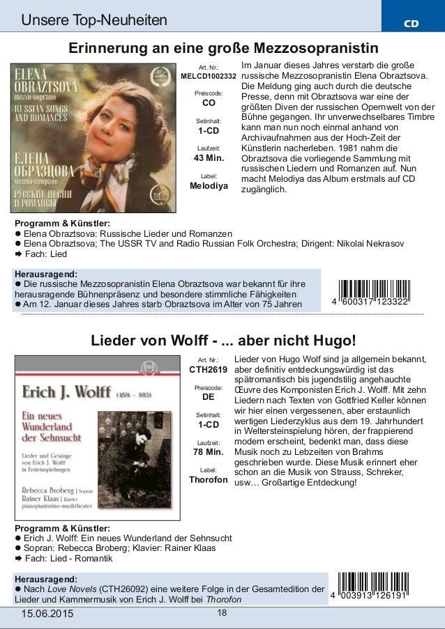 CD 15.06.2015 18 Unsere TopNeuheiten Art. Nr.: CTH2619 Preiscode: DE Setinhalt: 1-CD Laufzeit: 78 Min. Label: Thorofon Li...