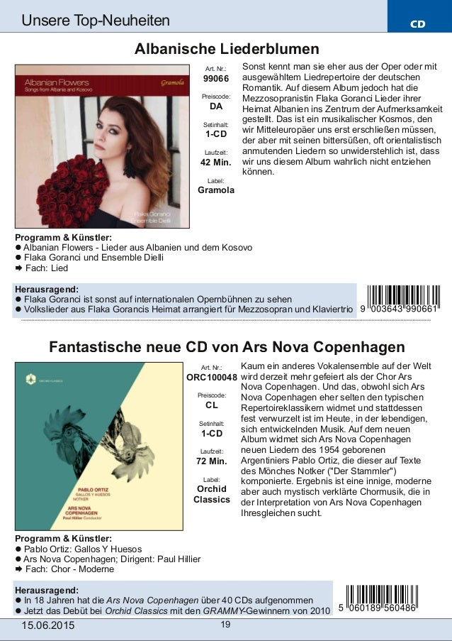 CD 15.06.2015 19 Unsere TopNeuheiten Art. Nr.: ORC100048 Preiscode: CL Setinhalt: 1-CD Laufzeit: 72 Min. Label: Orchid Cl...
