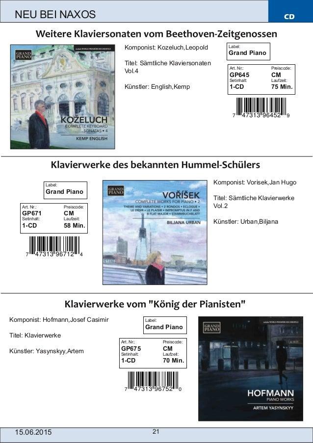 CD 15.06.2015 21 NEU BEI NAXOS Art. Nr.: Preiscode: GP645 CM Setinhalt: Laufzeit: 1-CD 75 Min. Komponist: Kozeluch,Leopold...