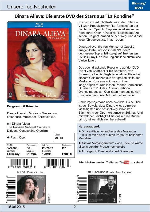 """15.06.2015 3 Unsere TopNeuheiten Blu-ray/ DVD Kürzlich in Berlin brillierte sie in der Rolando VillazónProduktion von """"L..."""