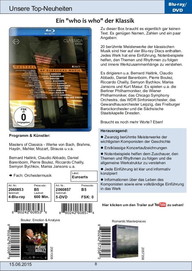 15.06.2015 8 Unsere TopNeuheiten Blu-ray/ DVD Zu dieser Box braucht es eigentlich gar keinen Text. Es genügen Namen, Zahl...