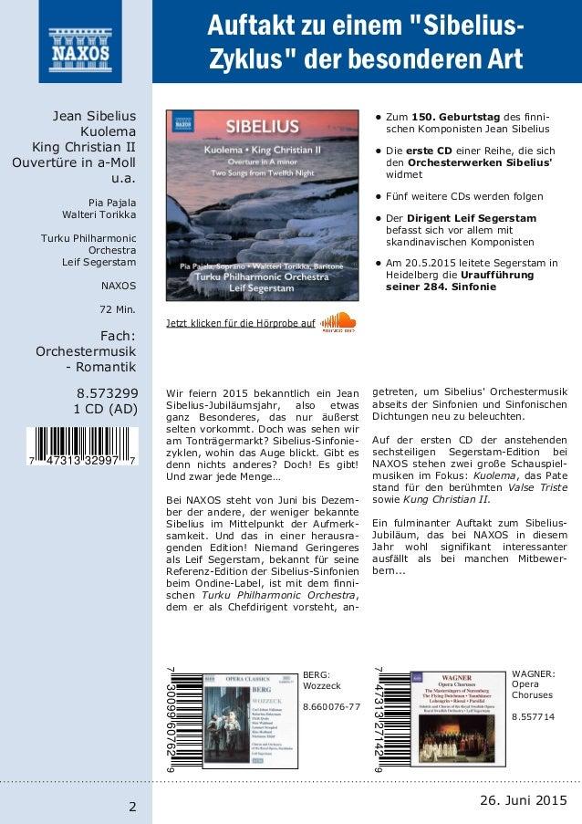 NAXOS-Neuheiten vom Label und Vertrieb 26. Juni 2015 Slide 2