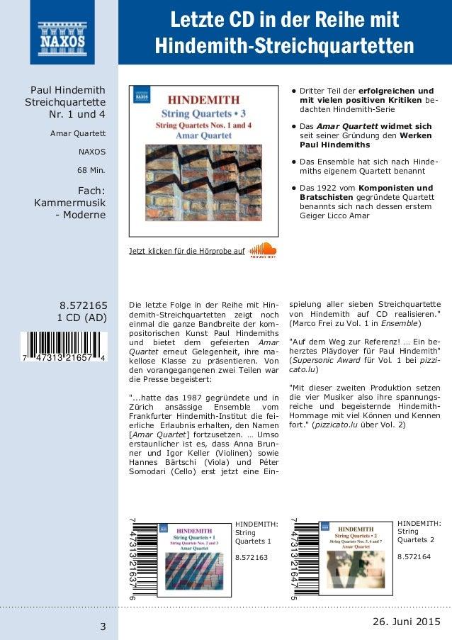 NAXOS-Neuheiten vom Label und Vertrieb 26. Juni 2015 Slide 3