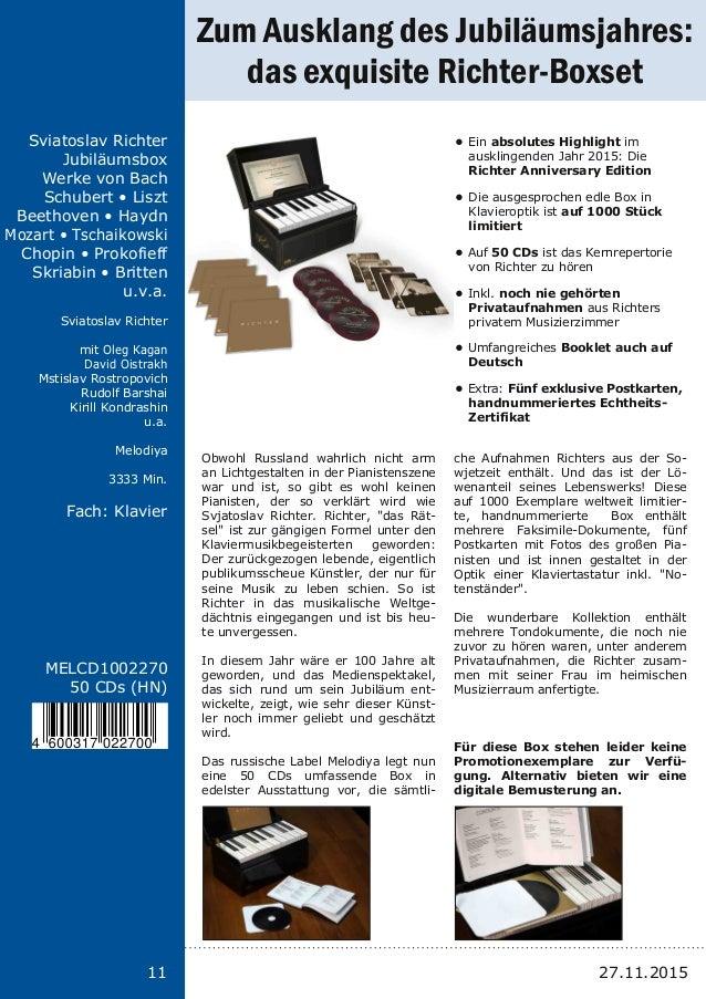 11 Titel: Schriftgröße 13 Interpreten Label Laufzeit Fach: Schriftgröße 13 11 MELCD1002270 50 CDs (HN) Sviatoslav Richter ...