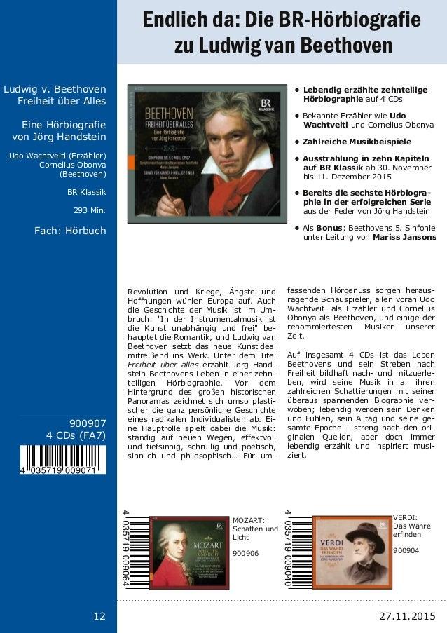 12 Titel: Schriftgröße 13 Interpreten Label Laufzeit Fach: Schriftgröße 13 12 900907 4 CDs (FA7) Ludwig v. Beethoven Freih...