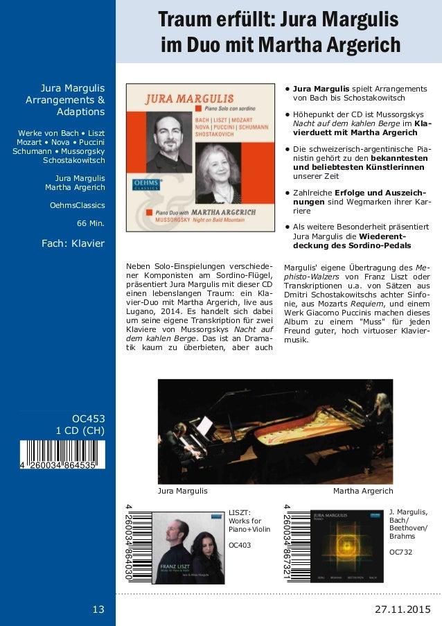 13 Titel: Schriftgröße 13 Interpreten Label Laufzeit Fach: Schriftgröße 13 13 OC453 1 CD (CH) Jura Margulis Arrangements &...