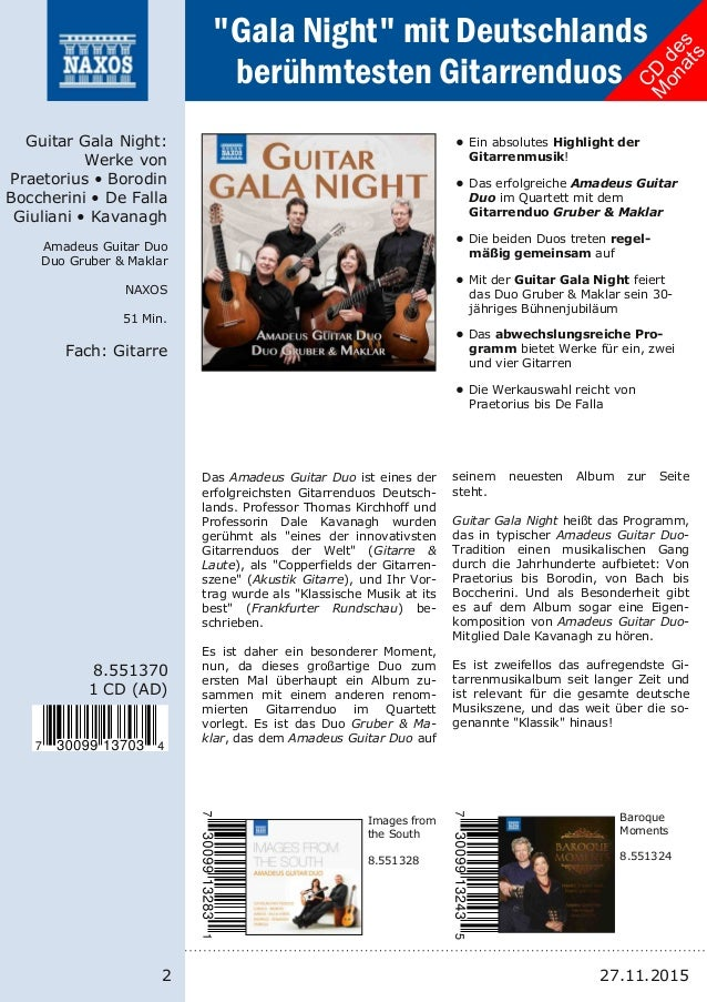 2 8.551370 1 CD (AD) Guitar Gala Night: Werke von Praetorius • Borodin Boccherini • De Falla Giuliani • Kavanagh Amadeus G...
