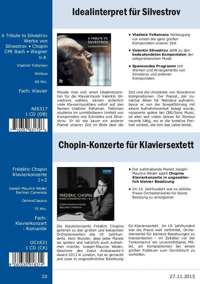Titel: Schriftgröße 13 Interpreten Label Laufzeit Fach: Schriftgröße 13 20 NI6317 1 CD (DB) A Tribute to Silvestrov Werke ...