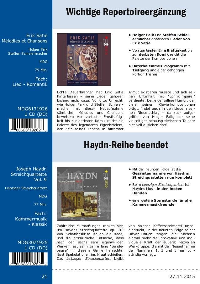 Titel: Schriftgröße 13 Interpreten Label Laufzeit Fach: Schriftgröße 13 21 MDG6131926 1 CD (DD) Erik Satie Mélodies et Cha...