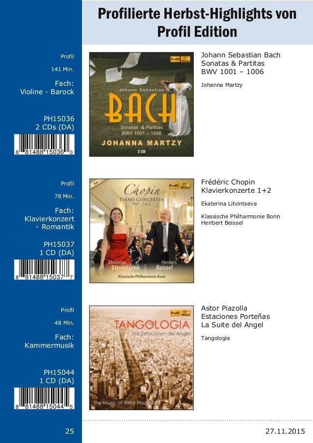 Titel: Schriftgröße 13 Interpreten Label Laufzeit Fach: Schriftgröße 13 25 PH15036 2 CDs (DA) PH15037 1 CD (DA) PH15044 1 ...