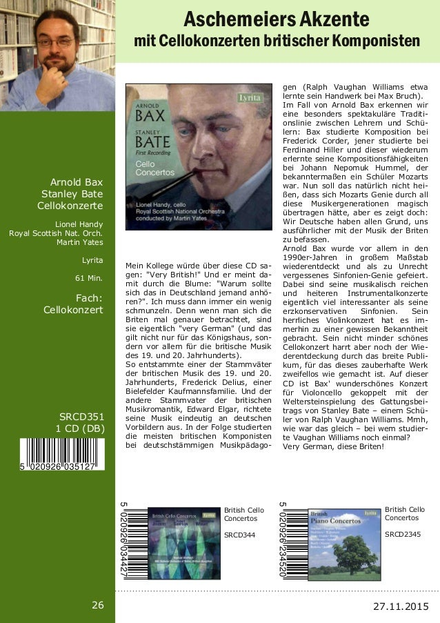 26 SRCD351 1 CD (DB) Arnold Bax Stanley Bate Cellokonzerte Lionel Handy Royal Scottish Nat. Orch. Martin Yates Lyrita 61 M...