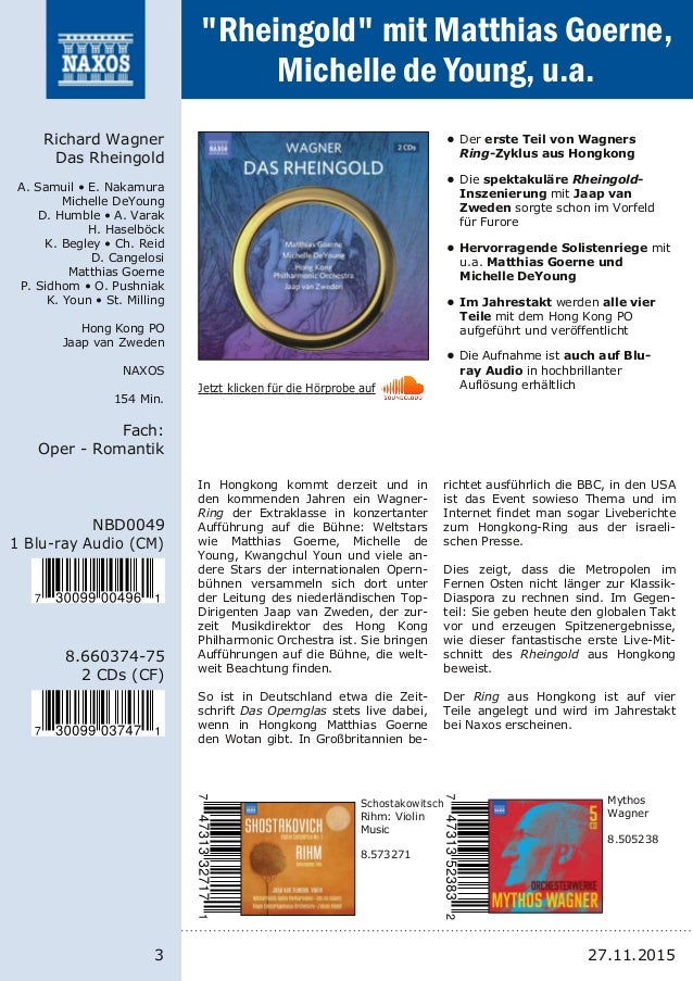 3 8.66037475 2 CDs (CF) NBD0049 1 Bluray Audio (CM) Richard Wagner Das Rheingold A. Samuil • E. Nakamura Michelle DeYoun...