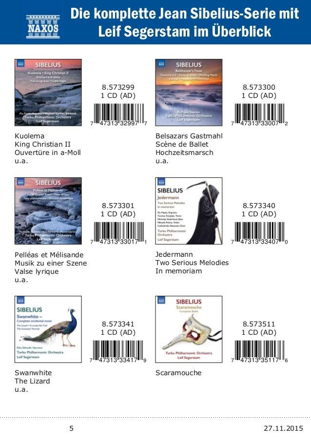5 27.11.2015 Kuolema King Christian II Ouvertüre in aMoll u.a. 8.573299 1 CD (AD) Belsazars Gastmahl Scène de Ballet Hoch...
