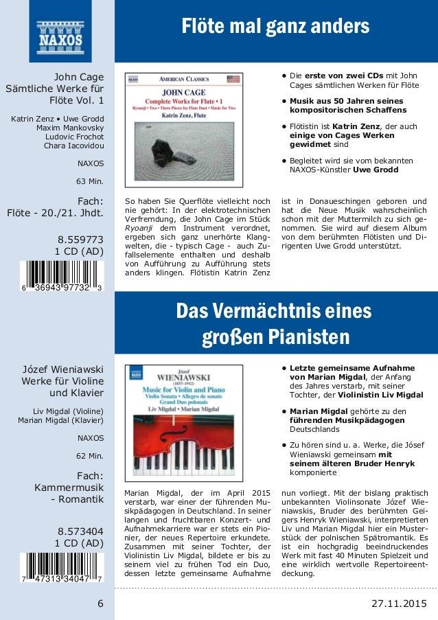 6 8.559773 1 CD (AD) John Cage Sämtliche Werke für Flöte Vol. 1 Katrin Zenz • Uwe Grodd Maxim Mankovsky Ludovic Frochot Ch...