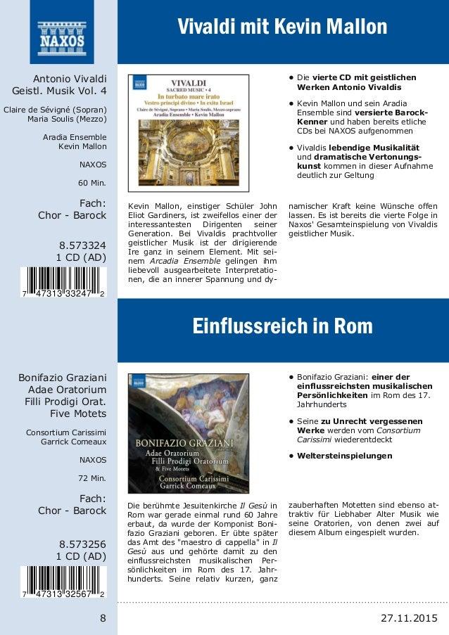 8 8.573324 1 CD (AD) Antonio Vivaldi Geistl. Musik Vol. 4 Claire de Sévigné (Sopran) Maria Soulis (Mezzo) Aradia Ensemble ...