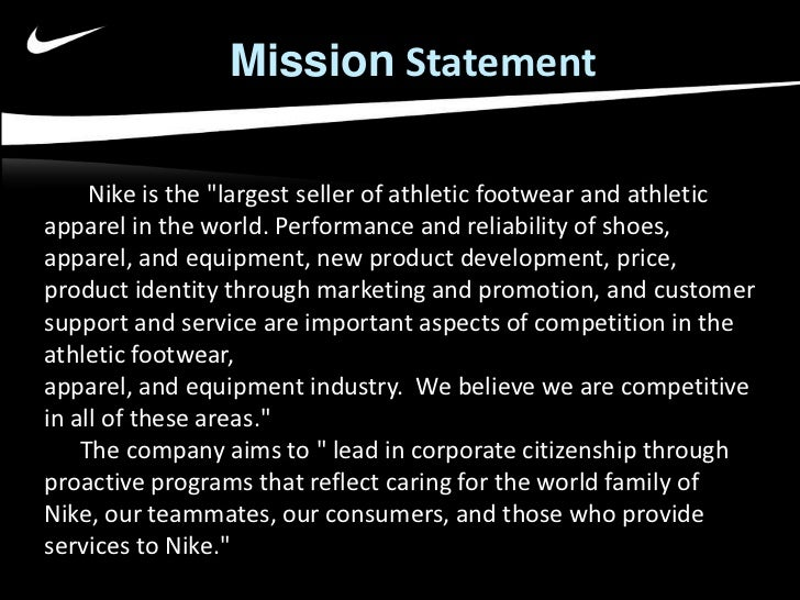 Vision mission and objectives of nike