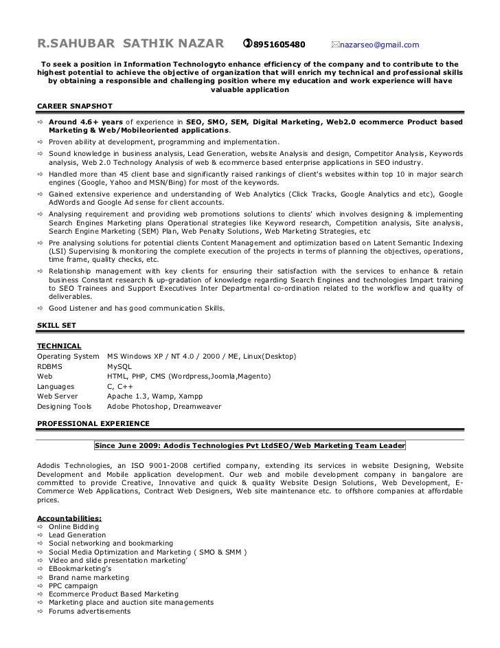 High Quality SEO Expert Resume. R.SAHUBAR SATHIK NAZAR 8951605480 ...