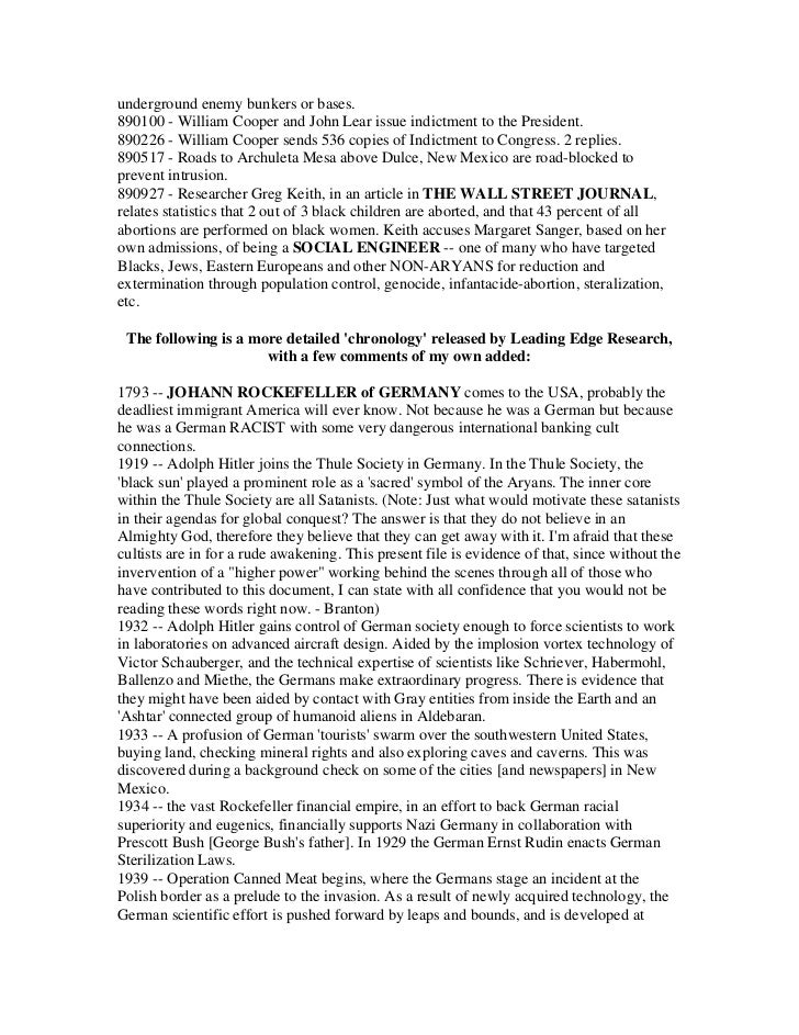 underground enemy bunkers or bases.890100 - William Cooper and John Lear issue indictment to the President.890226 - Willia...