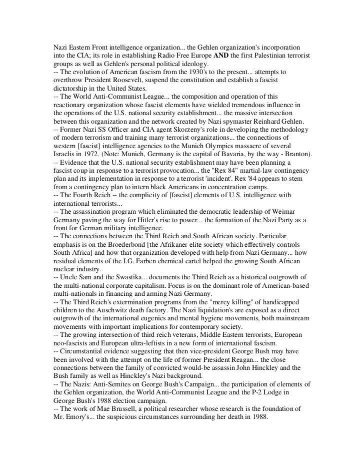 Nazi Eastern Front intelligence organization... the Gehlen organizations incorporationinto the CIA; its role in establishi...