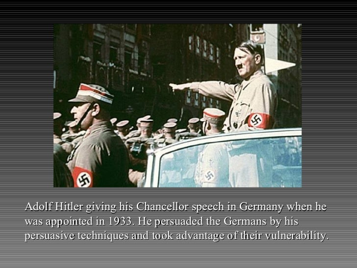 Adolf Hitler giving his Chancellor speech in Germany when he was appointed in 1933. He persuaded the Germans by his persua...