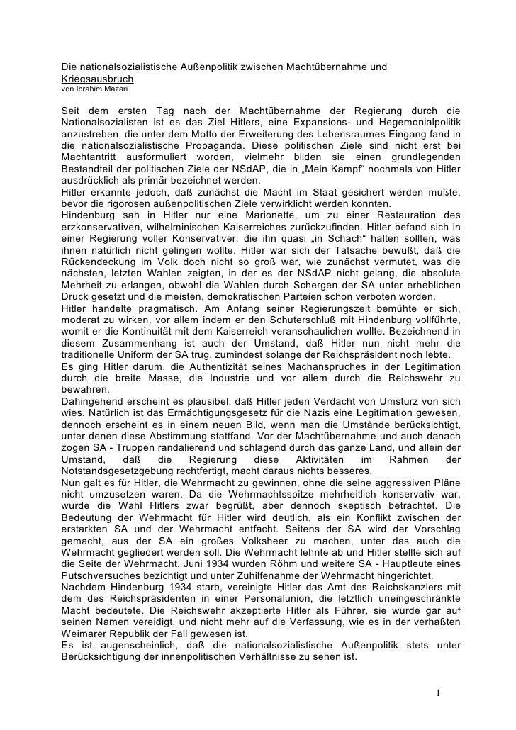 Die nationalsozialistische Außenpolitik zwischen Machtübernahme und Kriegsausbruch von Ibrahim Mazari  Seit dem ersten Tag...