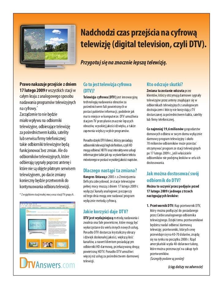 Nadchodzi czas przejścia na cyfrową                                                          telewizję (digital television...