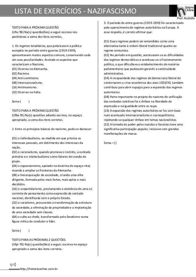 LISTA DE EXERCÍCIOS - NAZIFASCISMO                                                                                        ...
