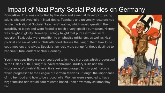 """the impact of nazi policies on the The first nazi racial policies were implemented just weeks after hitler took power in early 1933 these first anti-jewish policies were moderate, and there were no clear legal guidelines about who was and was not """"jewish"""" the majority of early anti-semitic decrees were intended to extract jews."""