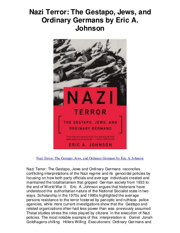 nazi terror foundation revision Wolf gruner, director of the usc shoah foundation center for advanced   individual jewish reactions to the persecution in nazi germany.