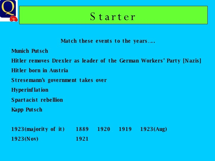 Starter Match these events to the years….. Munich Putsch Hitler removes Drexler as leader of the German Workers' Party [Na...
