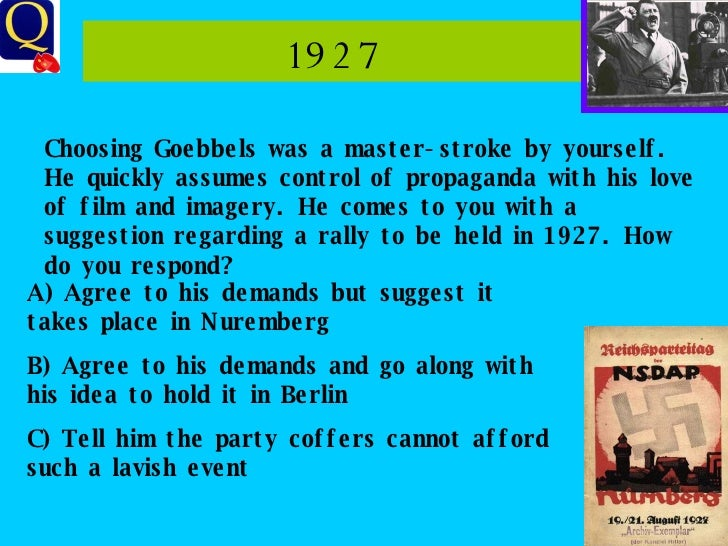 1927 Choosing Goebbels was a master-stroke by yourself. He quickly assumes control of propaganda with his love of film and...