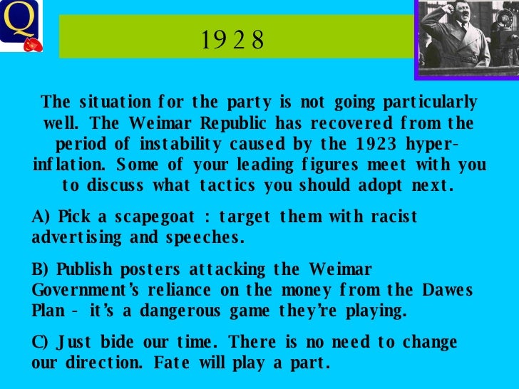 1928  The situation for the party is not going particularly well. The Weimar Republic has recovered from the period of ins...