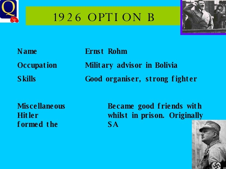 1926 OPTION B Name Ernst Rohm Occupation Military advisor in Bolivia Skills Good organiser, strong fighter Miscellaneous B...