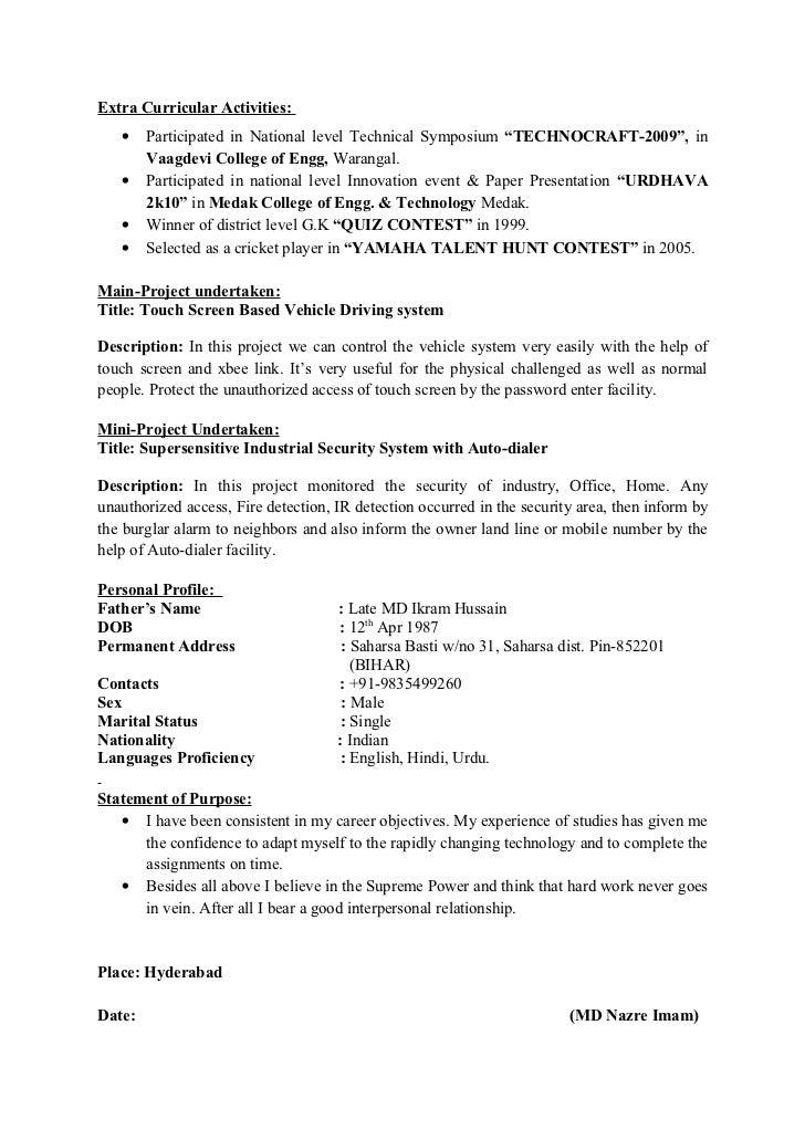 Extra Curricular Activities In Resume Samples Sample Of 2